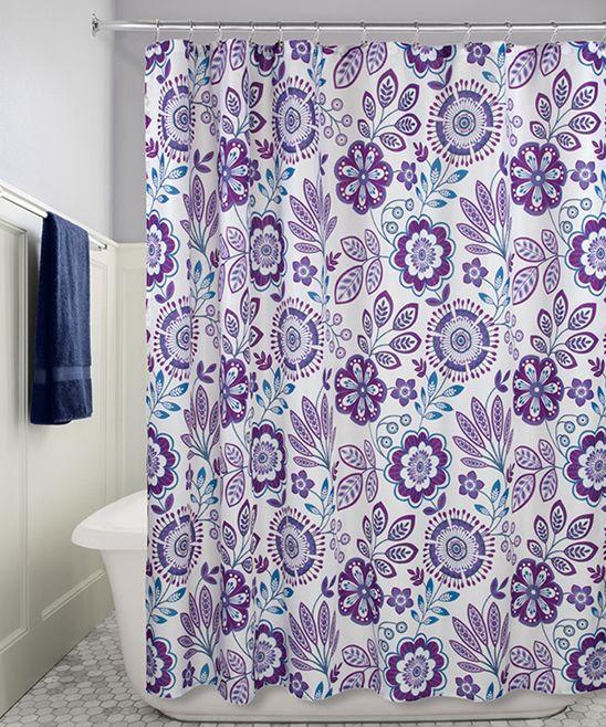 Purple Blue Luna Floral Shower Curtain