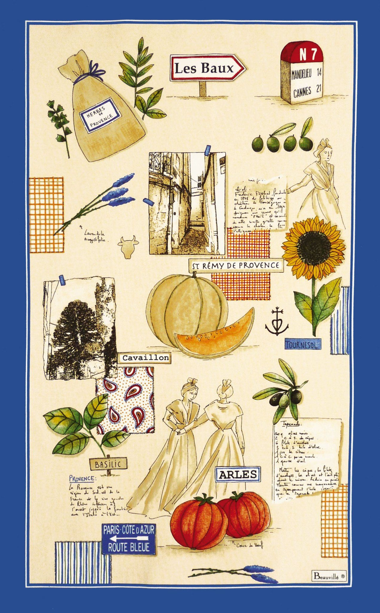 French Kitchen Dish//Tea Towel Provence Market 100 /% Cotton Made In France