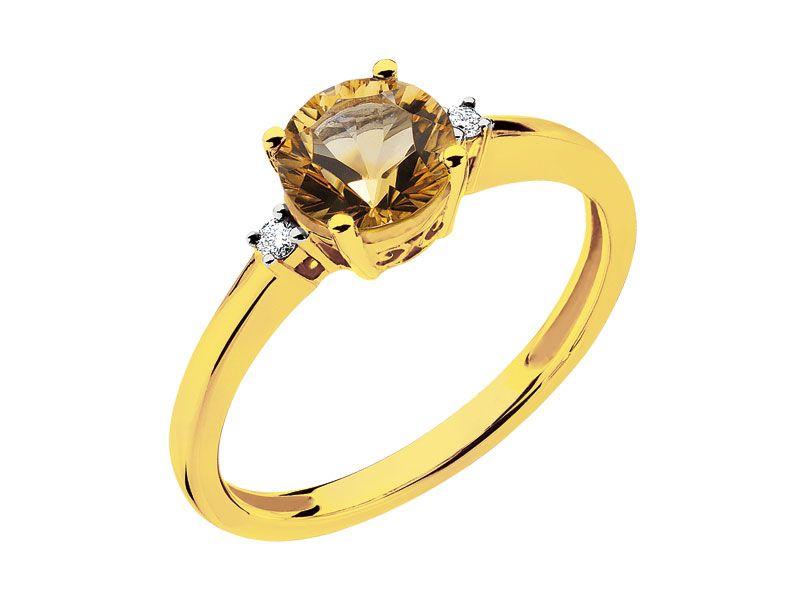 Pierścionek Z żółtego Złota Z Brylantami I Cytrynem Apart