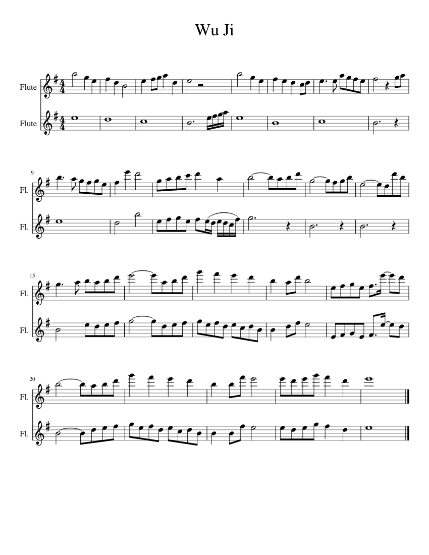 Print And Download In Pdf Or Midi Wu Ji Had The Instrumental Version Of Wu Ji On Repeat For The Last 48 Hours Straight Sin Flute Sheet Music Sheet Music Flute