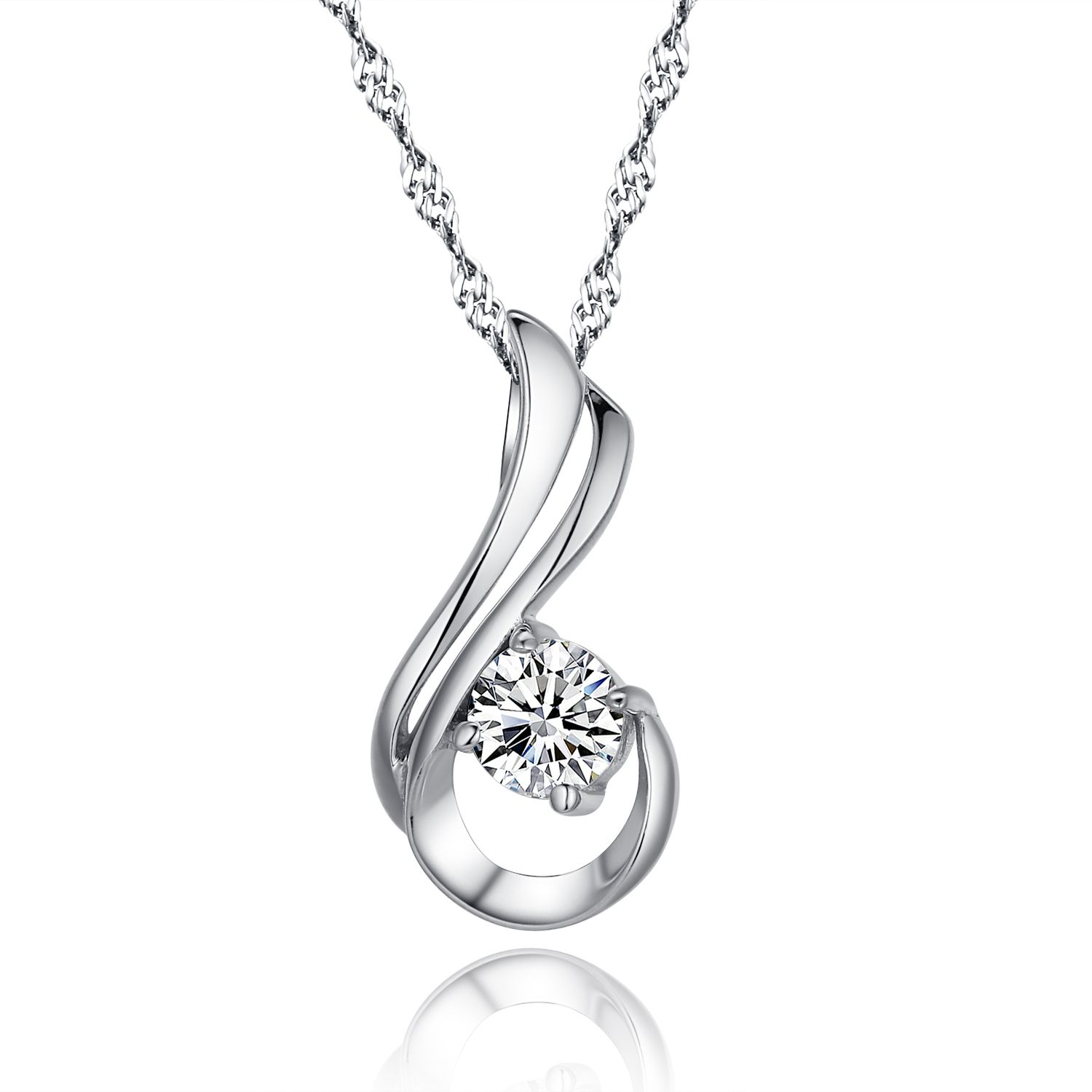Genuine 100 925 sterling silver pendant necklace paved cubic love at first sight 925 sterling silver paved diamond pendant necklace mozeypictures Images