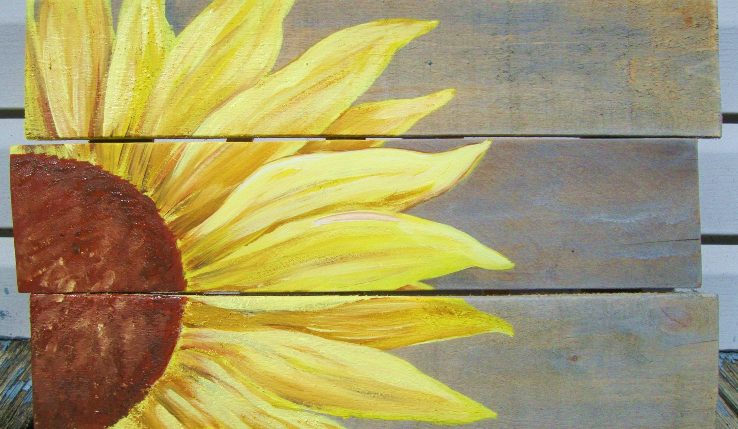 Pallet painting, handpainted Sunflower on rustic, distressed pallet sign by SerendipityDaydreams on Etsy
