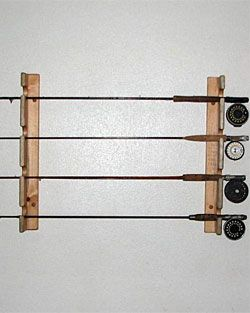 Wooden horizontal fishing rod racks fishing rods for Fly fishing rod holder
