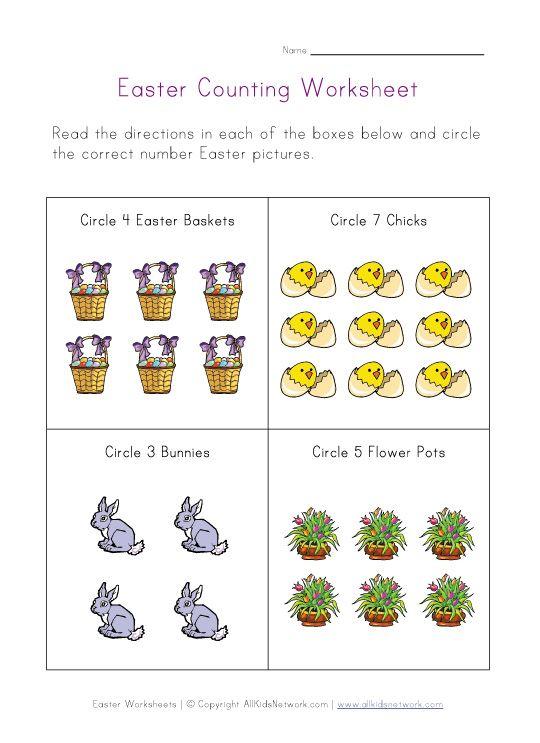 Easter Counting Printable Preschool Easter – Easter Worksheets for Kindergarten