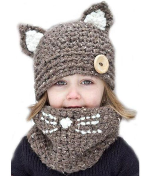 ce7cedb9513 AliExpress   Kid cat ear winter windproof hats and scarf set for kids  crochet headgear soft warm hat baby winter beanies kids scarf hat suits