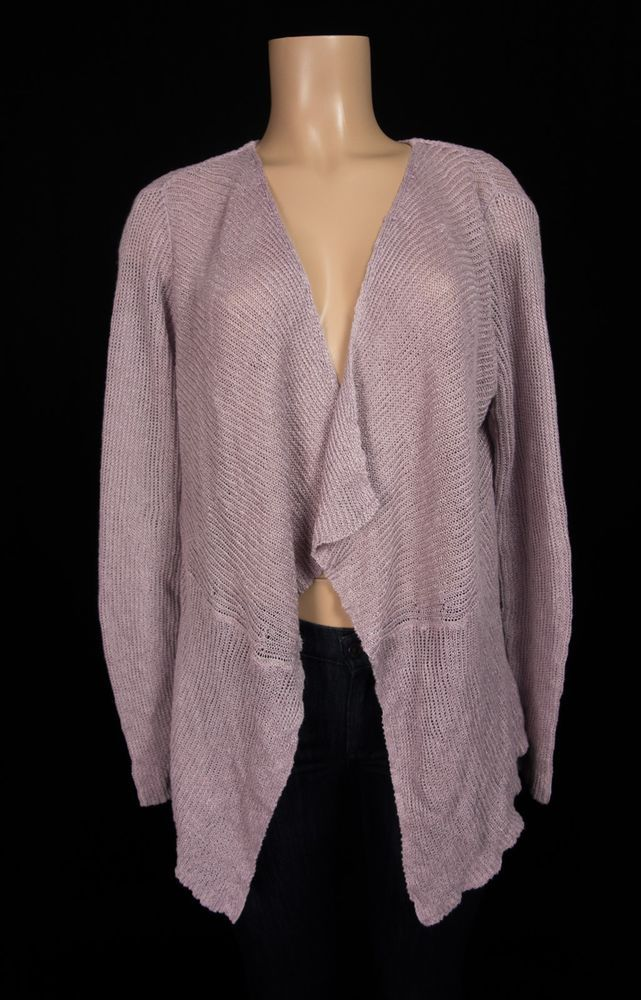 EILEEN FISHER Sweater L Large Purple Linen Lagenlook Knit Cardigan #EileenFisher #Cardigan