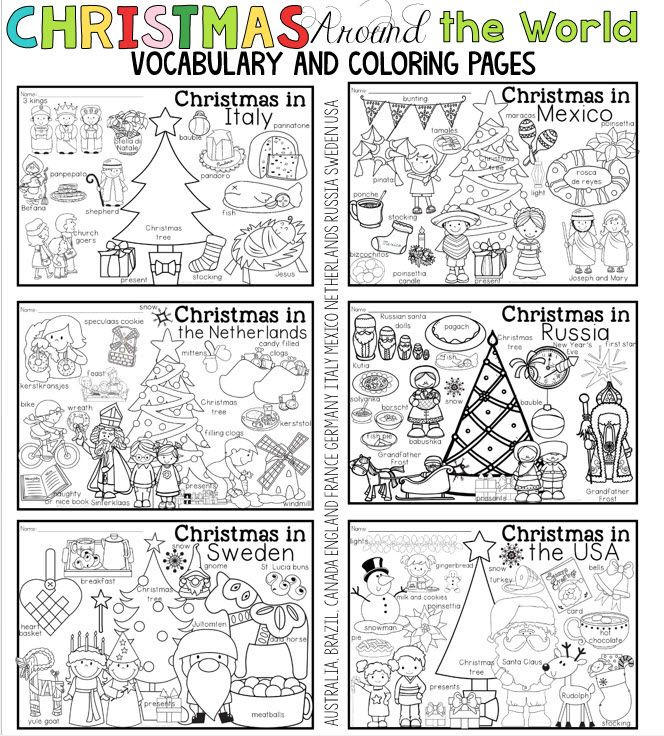 Christmas Around The World Coloring Pages And Vocabulary Posters Mexico Christmas Christmas Coloring Pages Christmas Teaching