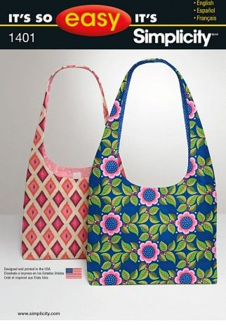 Simplicity Accessories Easy Sewing Pattern 1401 Simple Hand Bags ...