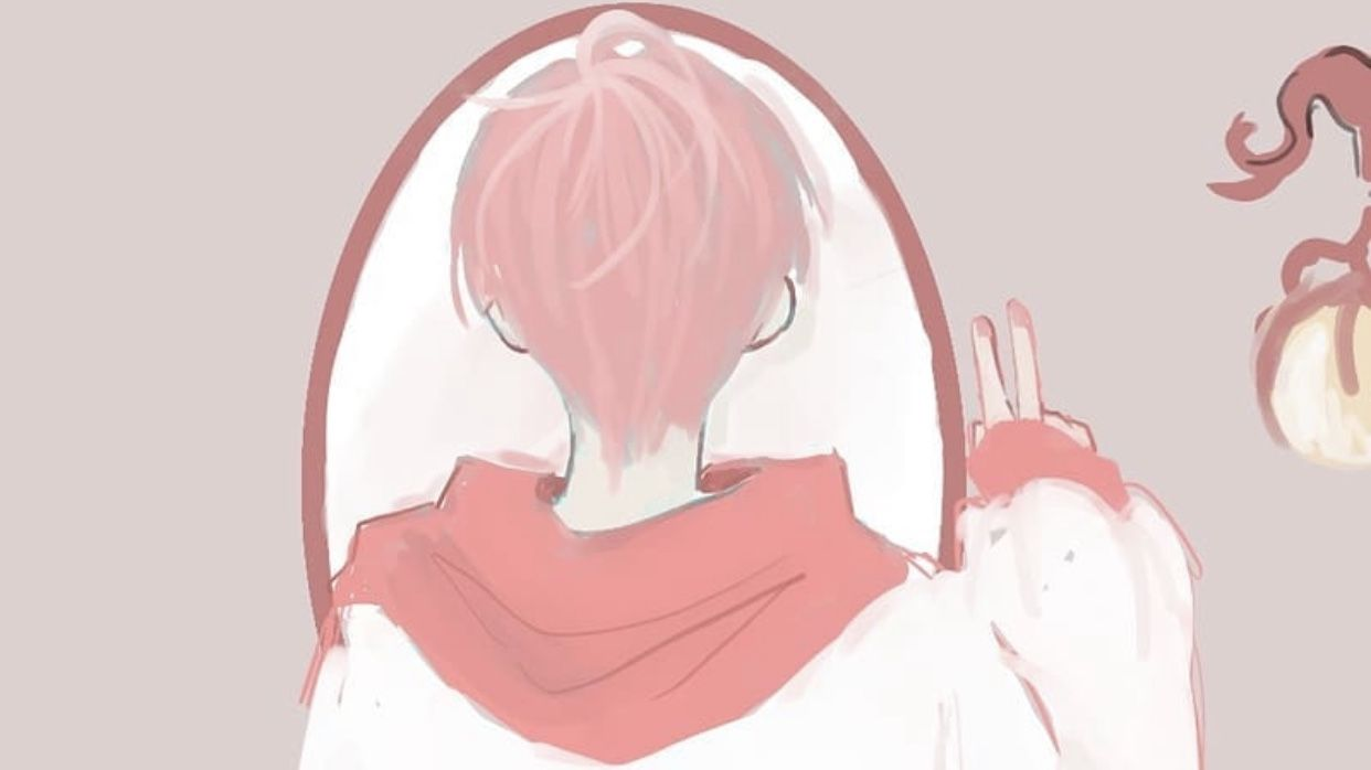 Pink Anime Boy In The Mirror Desktop Background In 2020 Pink Wallpaper Backgrounds Pink Wallpaper Pink Instagram