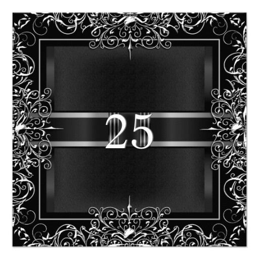 25th Anniversary Party Chalkboard Silver Floral 2 Personalized Invites