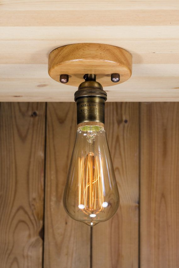 Real Brass Socket Ceiling Light Industrial Ceiling Wood Or