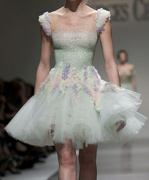 Georges Chakra, Summer 2012  love the top of this dress (illusion neckline with beading) with a more subtle cap sleeve