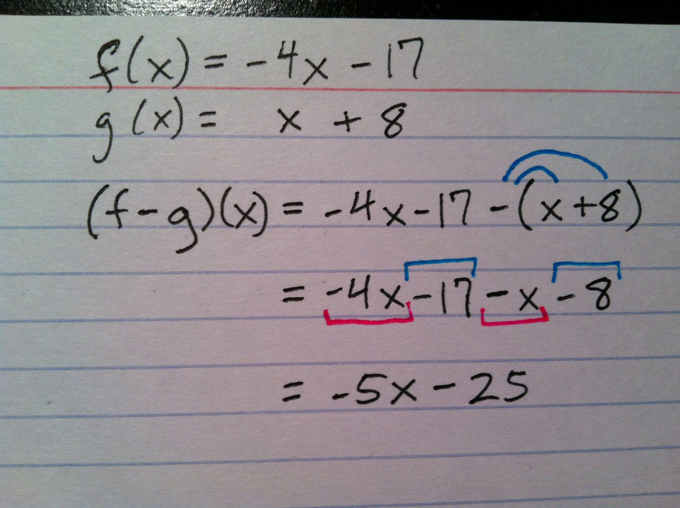 Subtraction Of 2 Functions Algebra Math Math Equations [ 1936 x 2592 Pixel ]