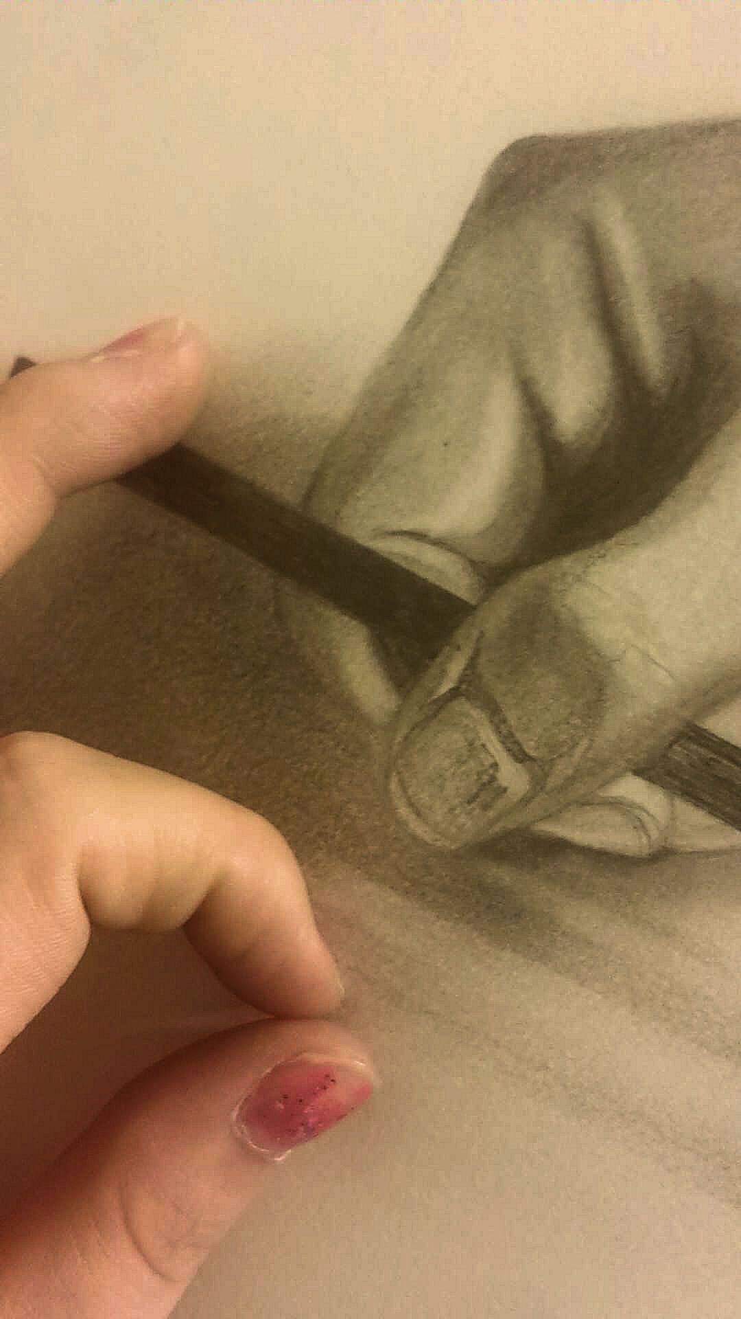 Pencil Sketch of my hand. by Markie Roake.