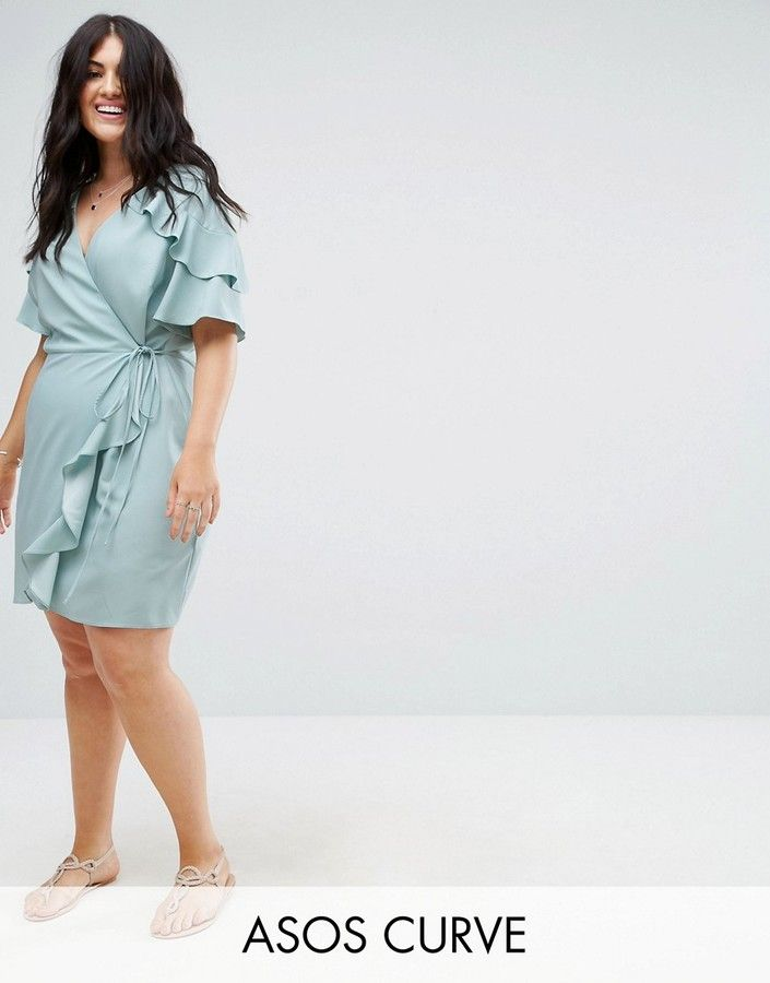 Asos Curve Asos Curve Mini Wrap Dress With Ruffle Sleeve Business Casual Dress Casual Party Dress Light Blue Ruf Plus Size Outfits Mini Wrap Dress Fashion