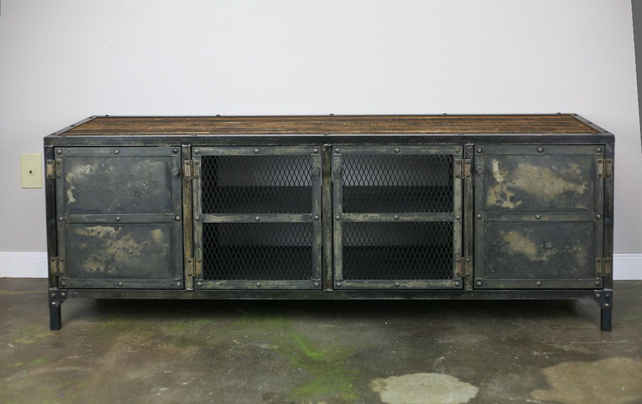 Schrank Vintage Design Industrial Media Console Vintage Style Credenza Reclaimed Wood