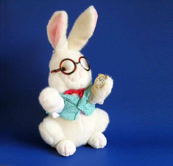 White Rabbit Stuffed Animal Alice In Wonderland Target 1990s Toy 1991 Easter Bunny Vintage Plush Vintage Plush White Rabbit Vintage Toys