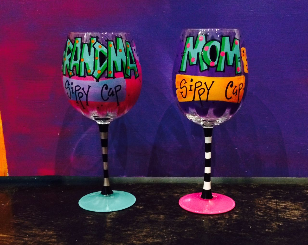 hand painted wine glasses keep mom and grandma happy and get them