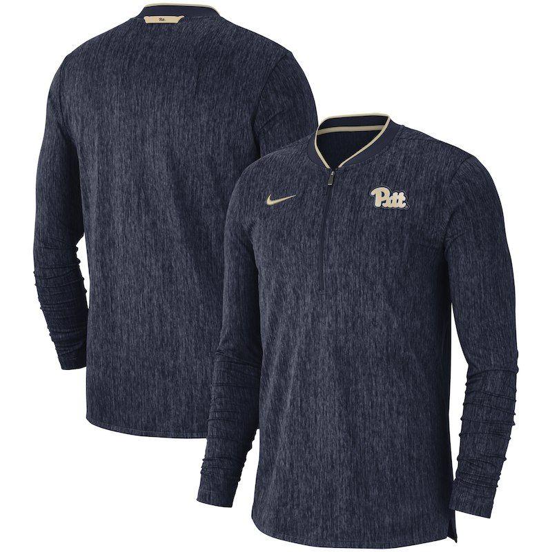 04c218f17 Pitt Panthers Nike 2018 Coaches Sideline Performance Quarter-Zip Jacket -  Heathered Navy