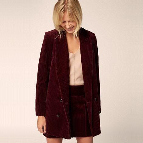 Manteau femme en velours cotele