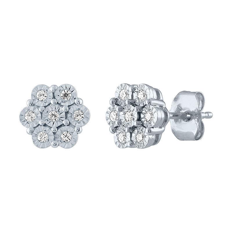 Diamond Blossom 1 10 Ct T W Genuine Diamond Sterling Silver Stud Earrings Sterling Silver Earrings Studs Sterling Silver Studs Silver Earrings Studs