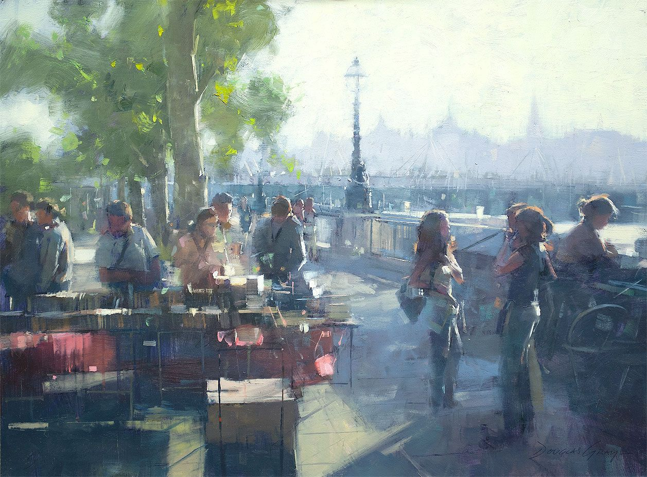 Landscapes along the south bank - Bookstalls South Bank London Douglas Gray