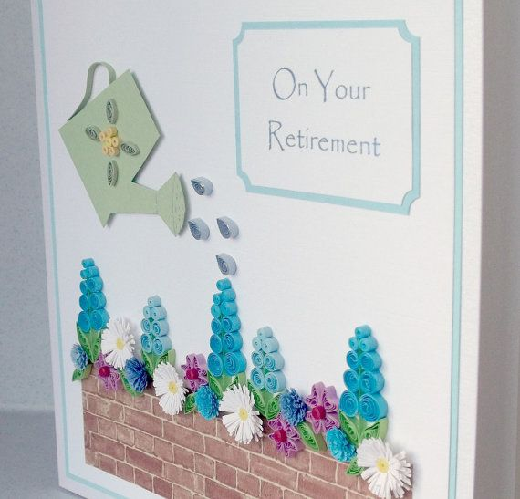 Quilled retirement card large size by PaperDaisyCards on Etsy