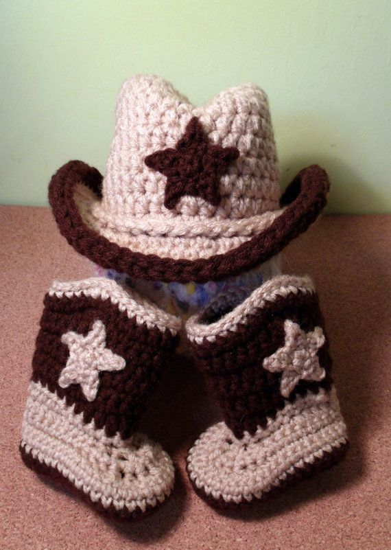 Crochet Cowboy hat & Cowboy Boots set by BornWildBoutique on Etsy ...