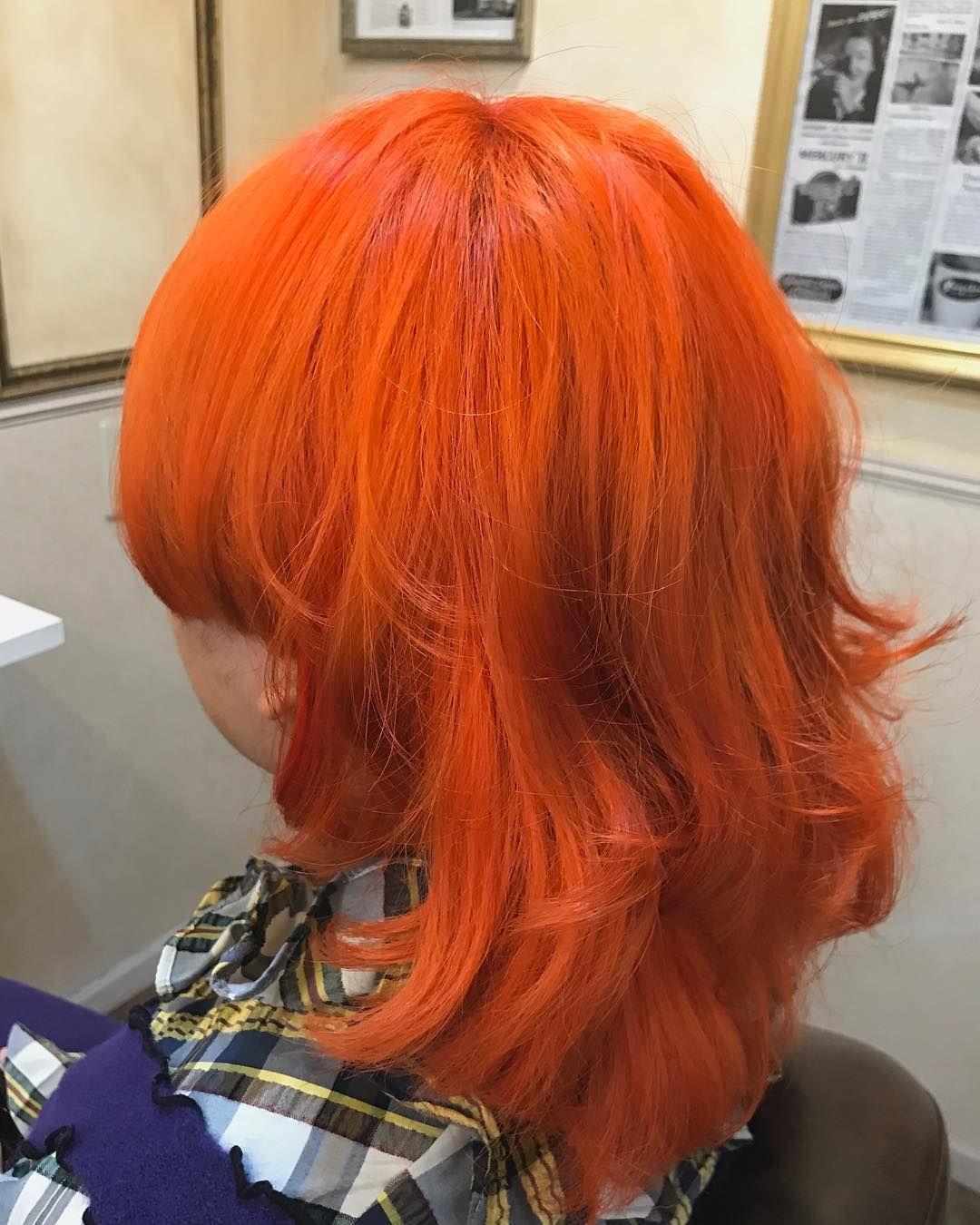 オレンジカラー マニパニ マニパニカラー 派手髪 派手髪女子 派手