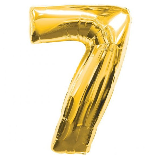 40 Number 7 Gold Mylar Balloon