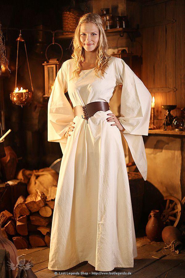 Unterkleid Cotte mit Trompeten rmel | Mittelalter Kleider ...