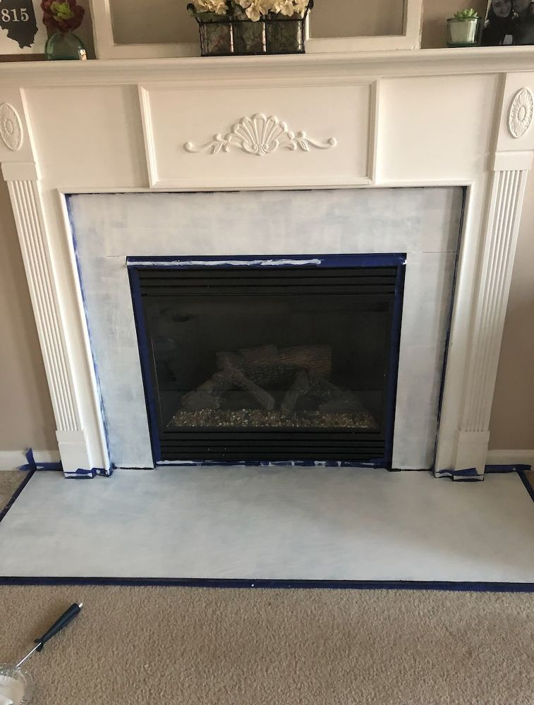 How to paint faux tile fireplace make over diy diy