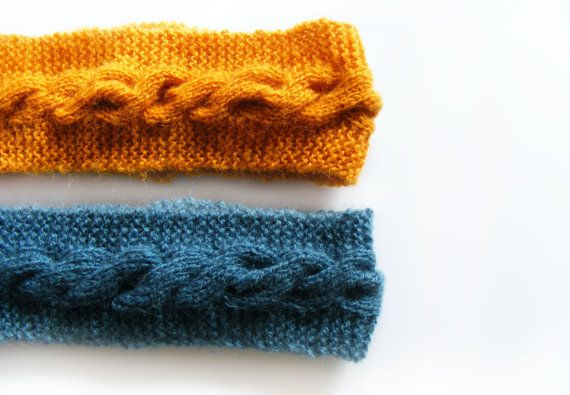 Mustard Knitted Headband  Winter Blue Headband  by FlosCaeli, $22.00