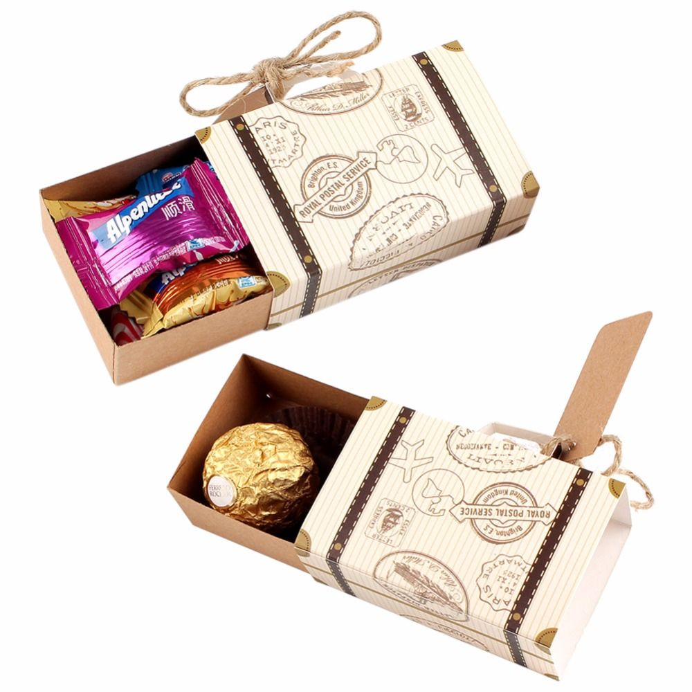 Ourwarm 10pcs Wedding Favor Chocolate Boxes Vintage Mini Suitcase ...