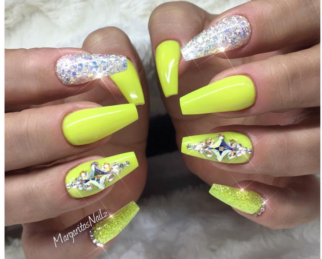 Pin By Ashley Pervez On Nails Neon Glitter Nails Neon Yellow