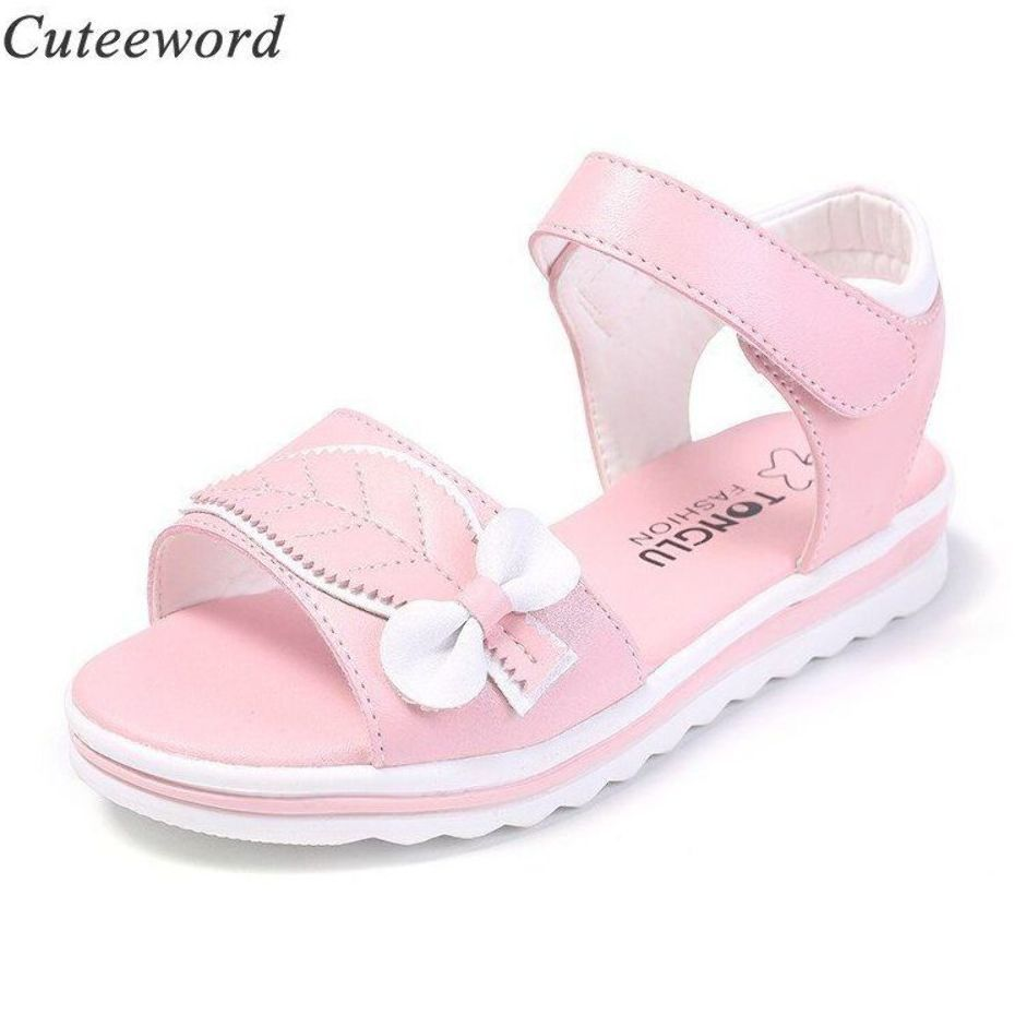 Girls sandals children shoes summer nonslip princess shoes soft thick bottom comfortable flat shoes for kids sandals white pink