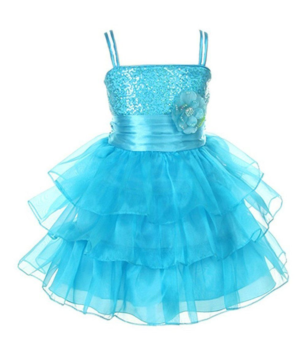 Amazon.com: Cinderella Couture Girls Triple Tiered Sequin Party ...