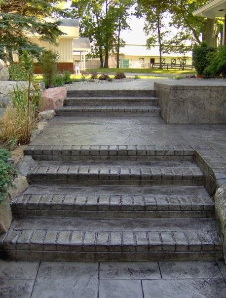 Stamped Concrete Steps And Walkway Concrete Stairs