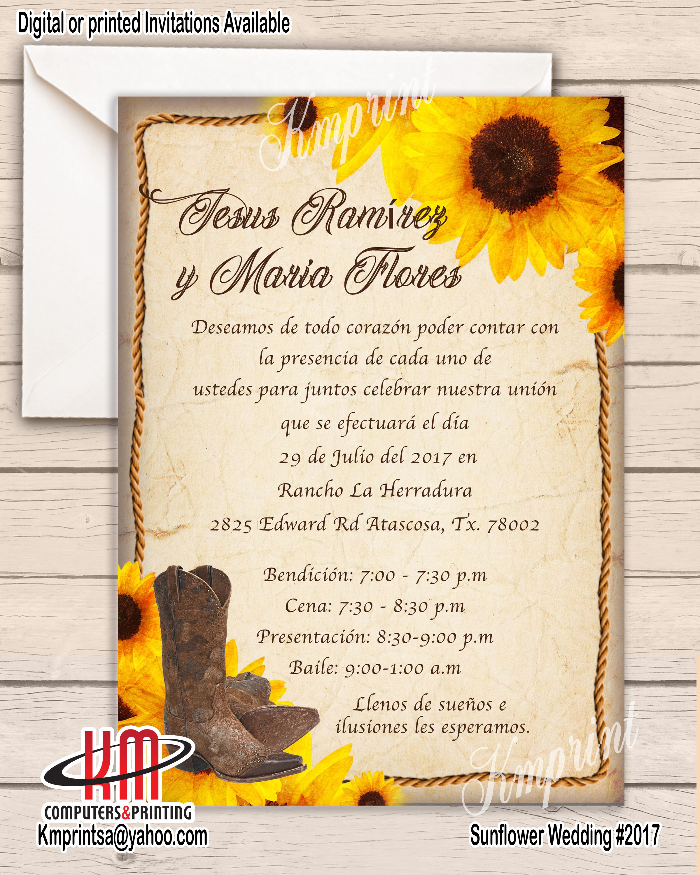 Western Sunflower/Rope Wedding invitation Quince Sweet16 We can ...