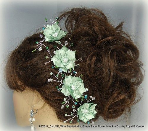 wire beaded mint green bridal hair pin duo bride bridesmaid hair