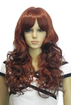 Amazon.com: Yazilind Medium Long Cute Wavy Red Wine Brown Full Bangs Heat Resistant Fibre Synthetic Hair Full Cosplay Anime Costume Wig: Bea...