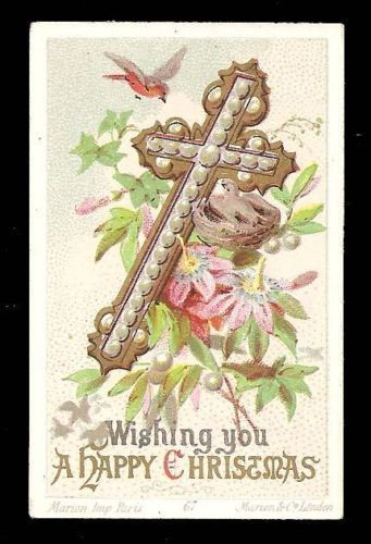 R41-VICTORIAN-RELIGIOUS-XMAS-CARD-CROSS-PASSION-FLOWER-BIRD-Marion-Co