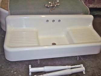 1925 Cast Iron Farmhouse Sink With Double Drainboards Cast Iron