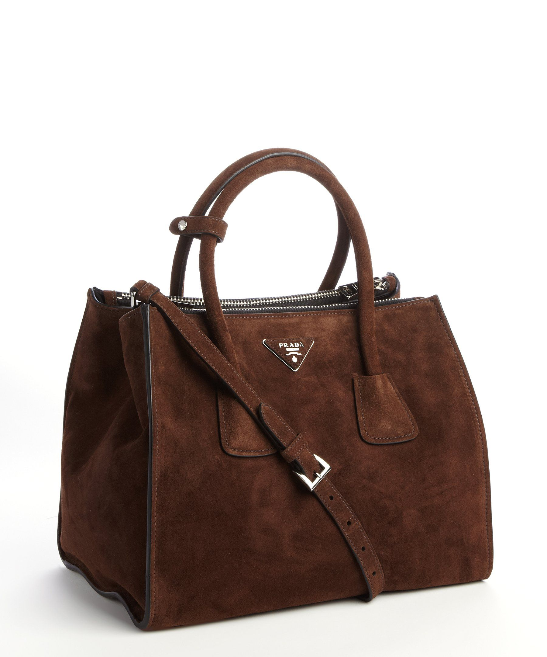 7719893ac0 Prada brown suede twin pocket tote bag