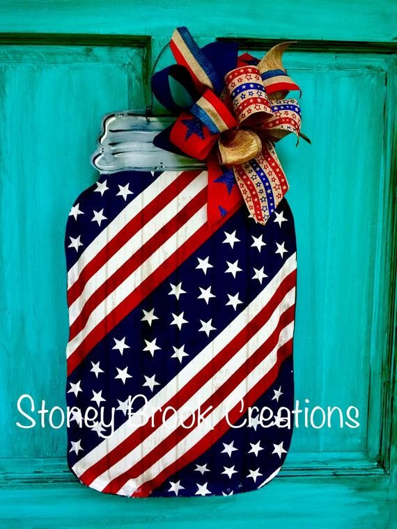 Patriotic Mason Jar Door Hanger Wreath Americana USA Proud Mermorial Day 4th of July Vererans Day Independence Day Red White Blue
