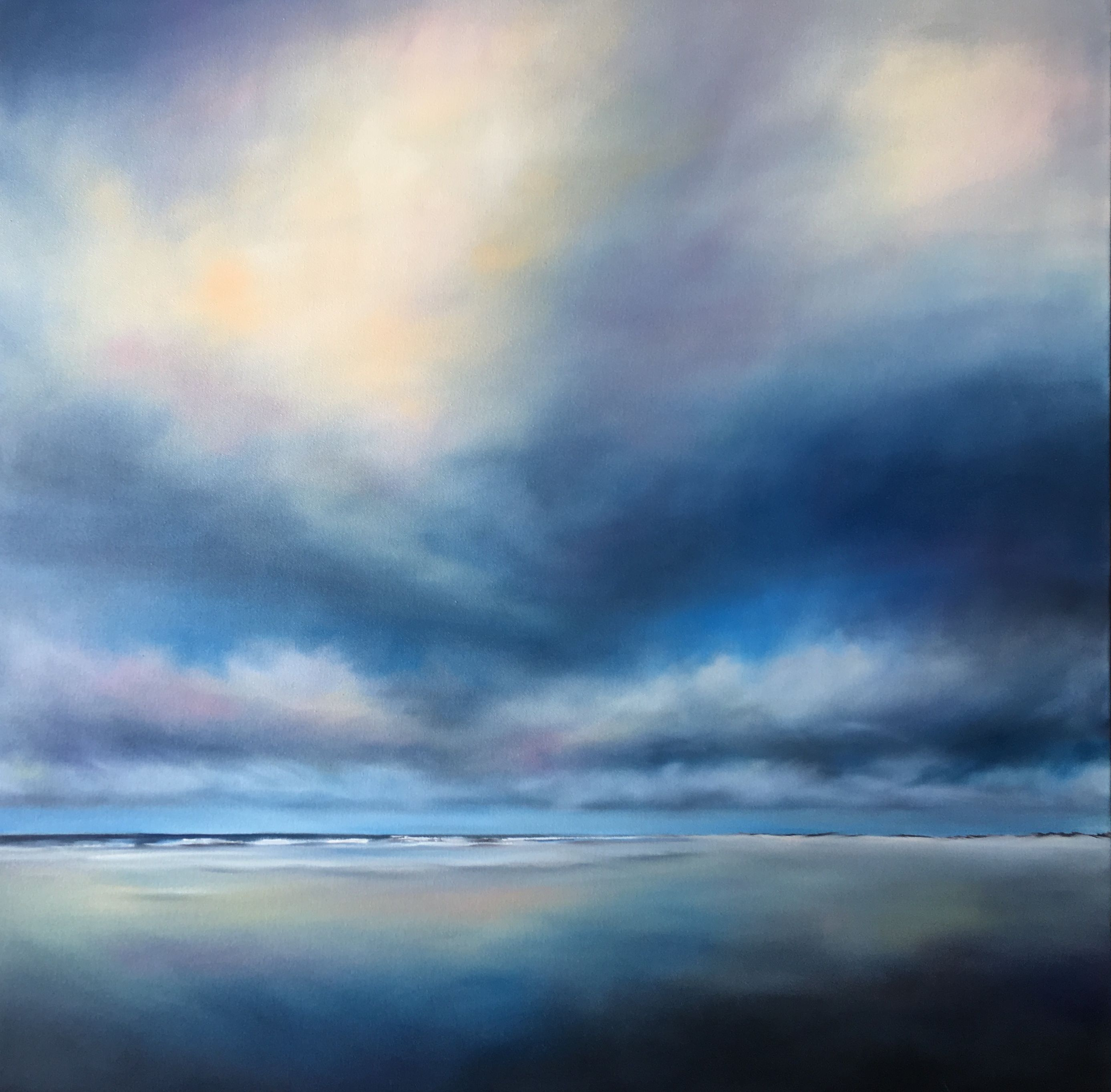 Oil Painting By Nancy Hughes Miller Ocean Sky 40x40x1 5 Inches Dream Higher Than The Sky And Deeper Tha Seascape Paintings Ocean Painting Aesthetic Painting