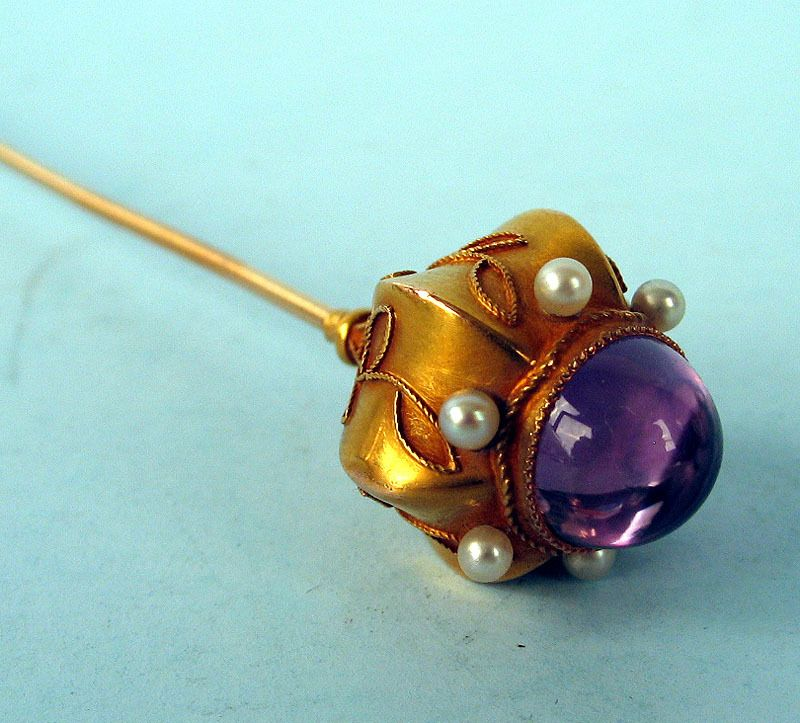 Etruscan Revival Gold Hat Pin With Pearls & Amethyst, 19th C.