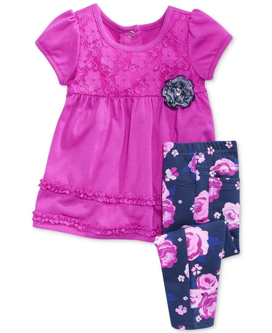 Nannette Baby Girls' 2-Piece Short-Sleeved Top & Leggings Set
