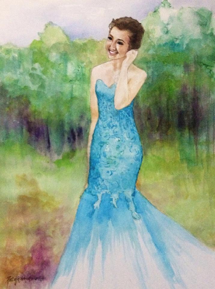 """Nina"" 2015 18""x21"" Watercolor on paper Original art by: PinkyFLizares"