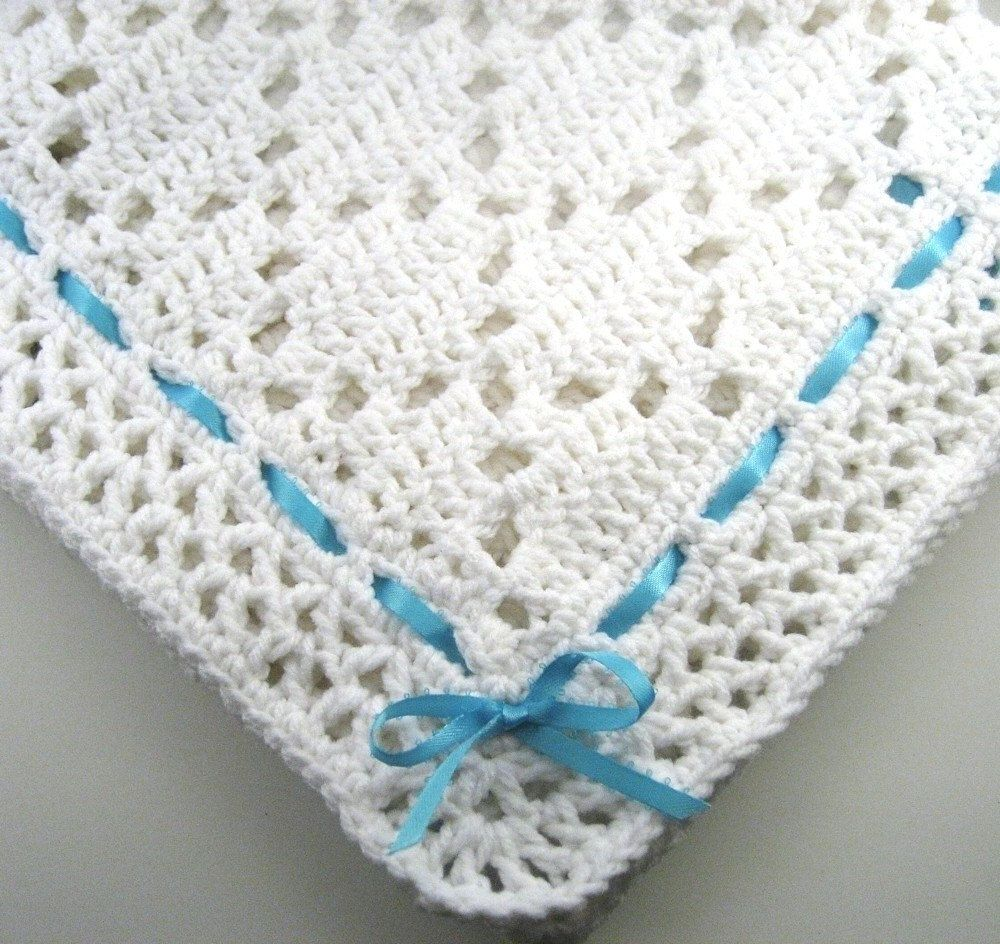 PDF Pattern Crocheted Baby Afghan, DIAMOND LACE Baby Afghan Blanket ...